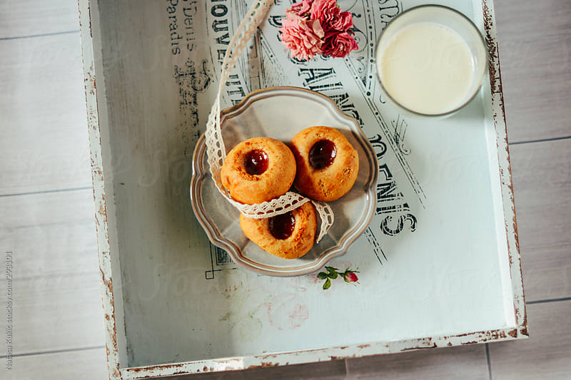 Cookies and milk by Natasa Kukic for Stocksy United