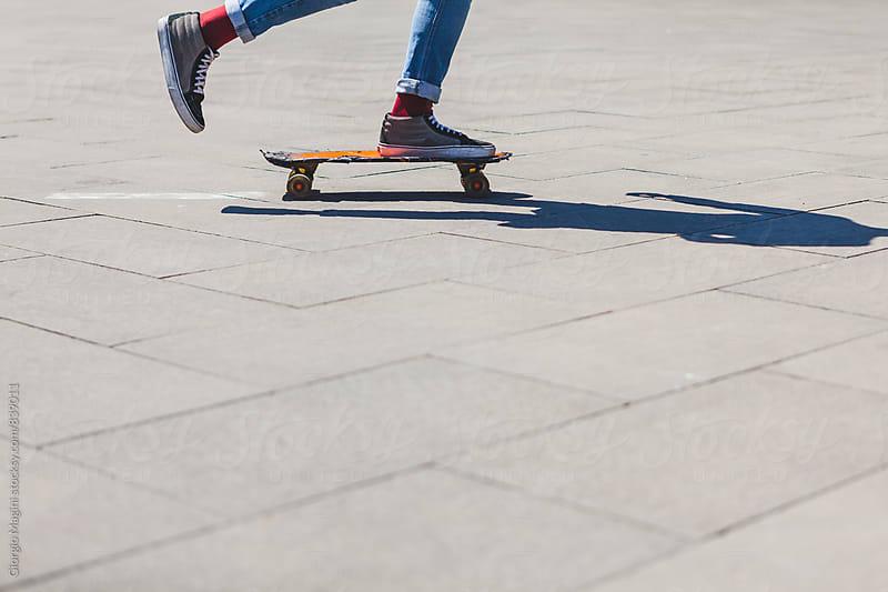 Teen Boy Skating in Urban Area by Giorgio Magini for Stocksy United
