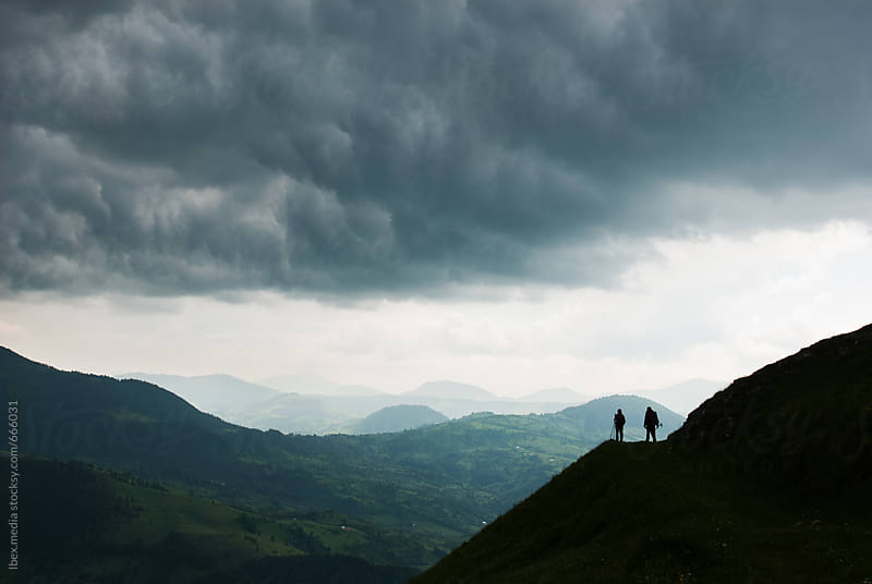 Hikers walking on top of the hill by RG&B Images for Stocksy United