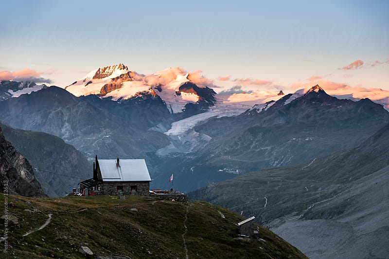 Mountains of Switzerland: Panorama with SAC mountain hut above Zermatt by Peter Wey for Stocksy United