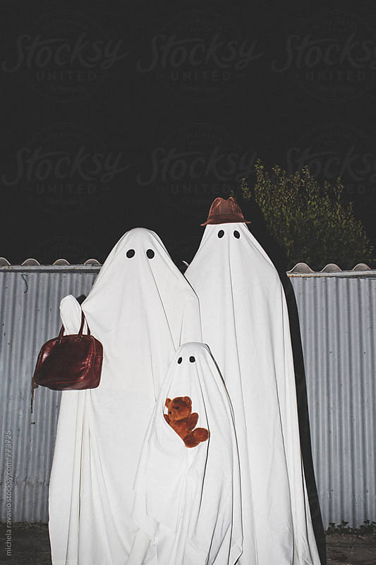 Portrait of three ghosts outdoors by michela ravasio for Stocksy United