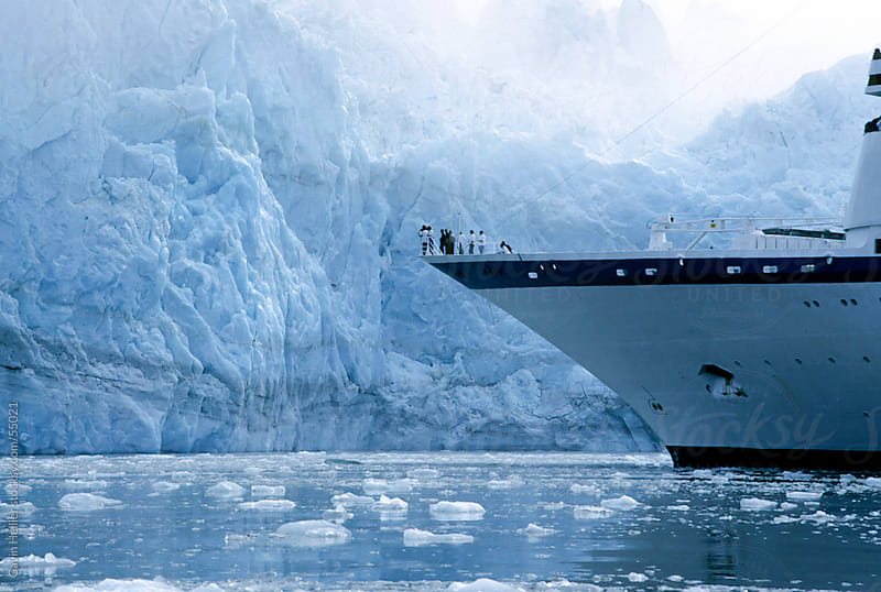USA, Alaska, Glacier Bay National Park, cruise ship on icy water by Gavin Hellier for Stocksy United