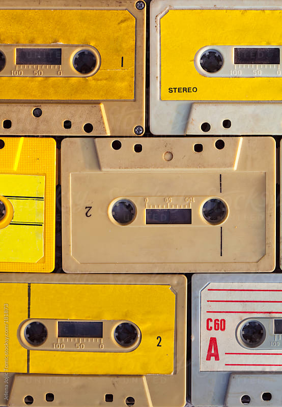 Audio cassettes background by Jelena Jojic Tomic for Stocksy United