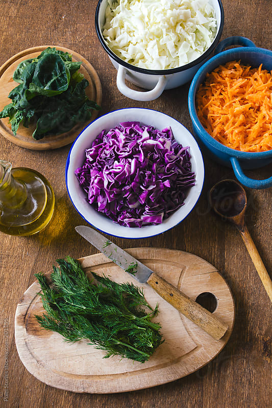 Cabbage and carrot salad by Pixel Stories for Stocksy United