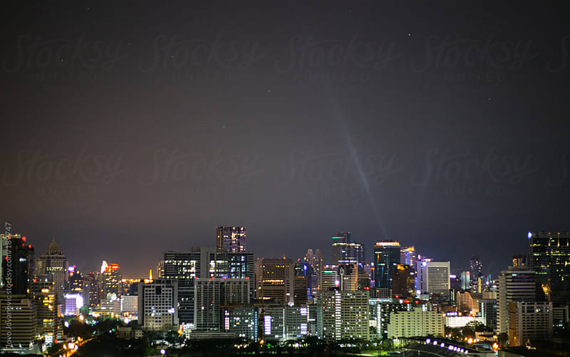 City of angels next to national stadium - skyline by night by Jovo Jovanovic for Stocksy United