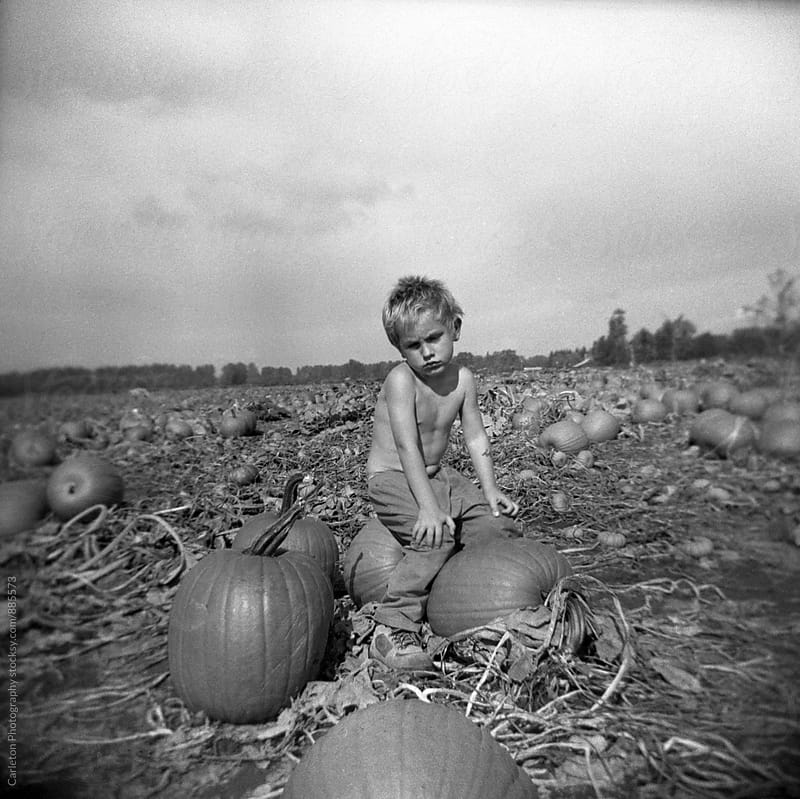 Grumpy shirtless boy in pumpkin patch by Carleton Photography for Stocksy United