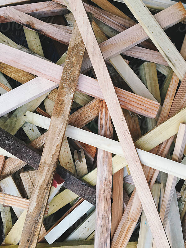 Pile of scrap wood, close up by Paul Edmondson for Stocksy United