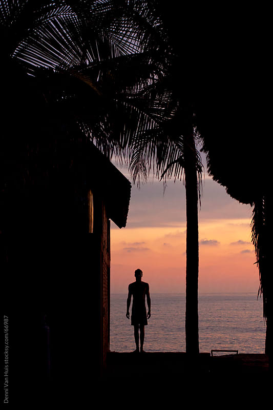 Traveling. Silhouette of a man standing between a beach house and a palm tree during a beautiful sunset by Denni Van Huis for Stocksy United