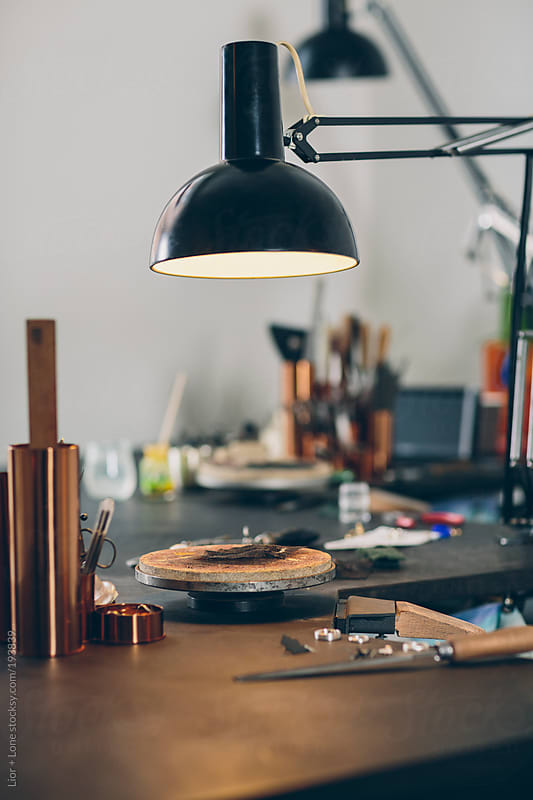Still life shot of jewelry designer work space by Lior + Lone for Stocksy United
