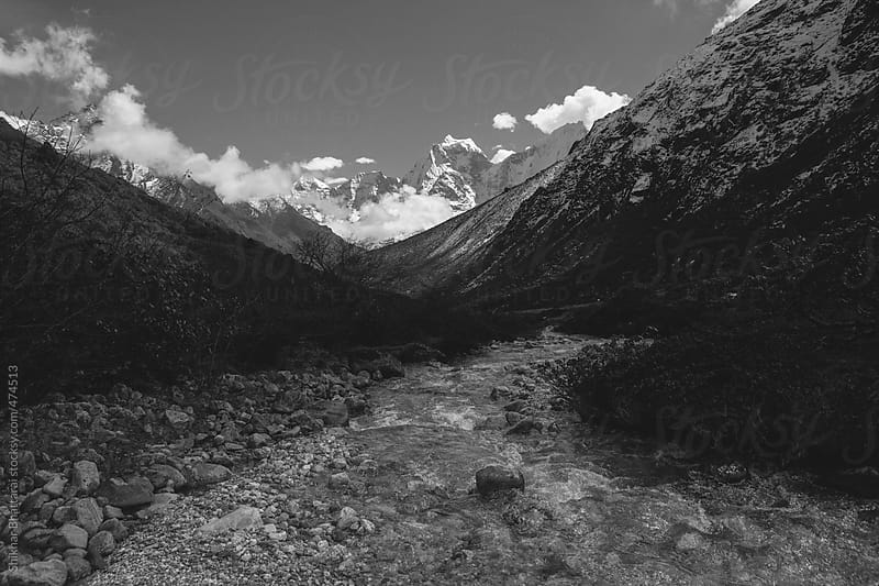 View of the himalayan mountains on the way to Everest. by Shikhar Bhattarai for Stocksy United
