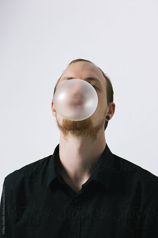 Man with Bubble Gum by Milles Studio for Stocksy United