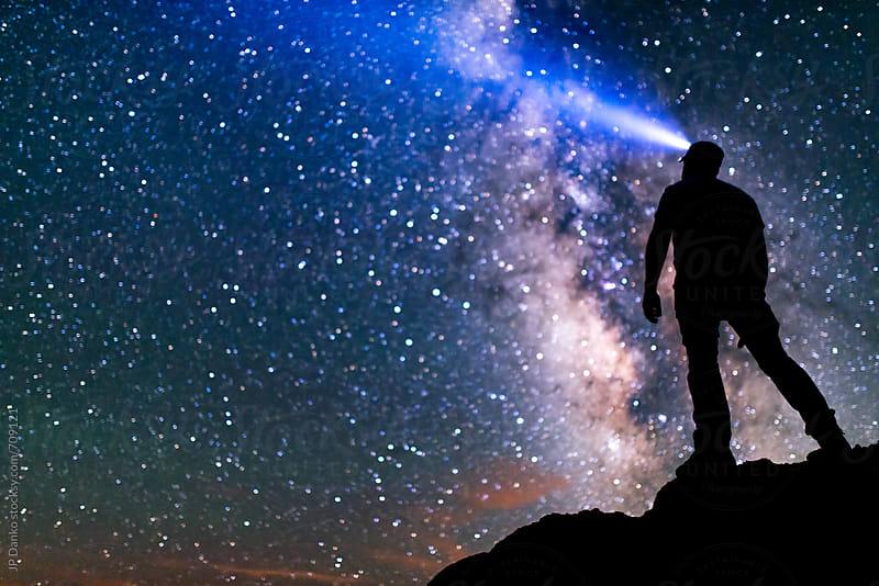 Milky Way Galaxy Night Sky Stars Self Portrait Selfie in New Mexico Desert Bisti by JP Danko for Stocksy United