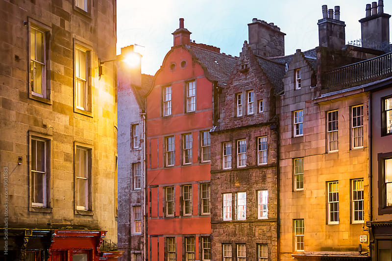 Evening View of Colorful Edinburgh Buildings by Helen Sotiriadis for Stocksy United