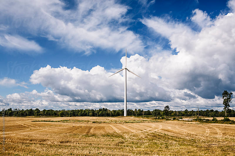 Wind turbine in a field under blue sky by Lior + Lone for Stocksy United