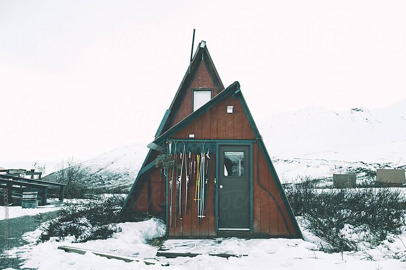 Red Hatcher Cabin Winter by Jake Elko for Stocksy United