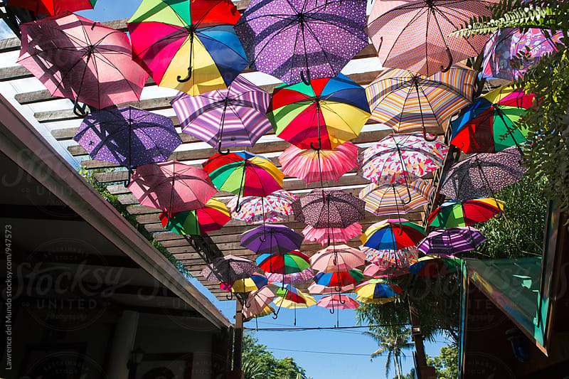 Colorful canopy of umbrellas by Lawrence del Mundo for Stocksy United