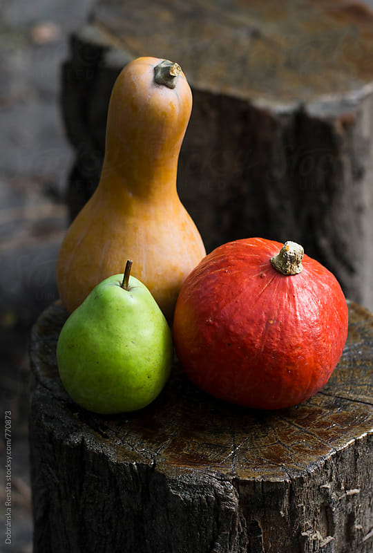 Hokkaido, pumpkin and green pear by Dobránska Renáta for Stocksy United