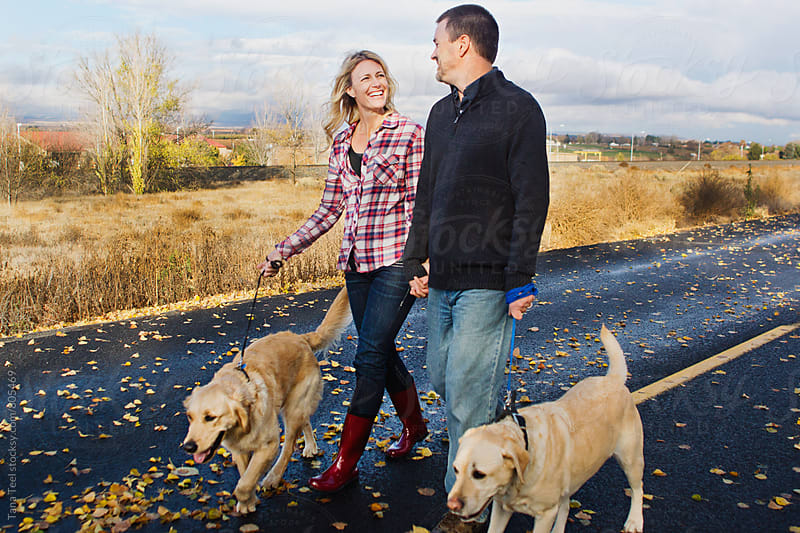 Couple take pet dogs on walk along rural road by Tana Teel for Stocksy United