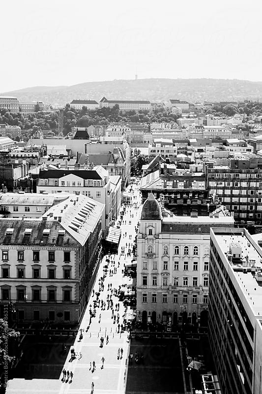 Streets of Budapest seen from a building by Beatrix Boros for Stocksy United