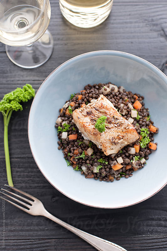 Food: Lentils with Vegetables and Cod by Ina Peters for Stocksy United