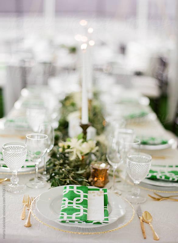 Green & Gold Wedding Table Setting by Marta Locklear for Stocksy United