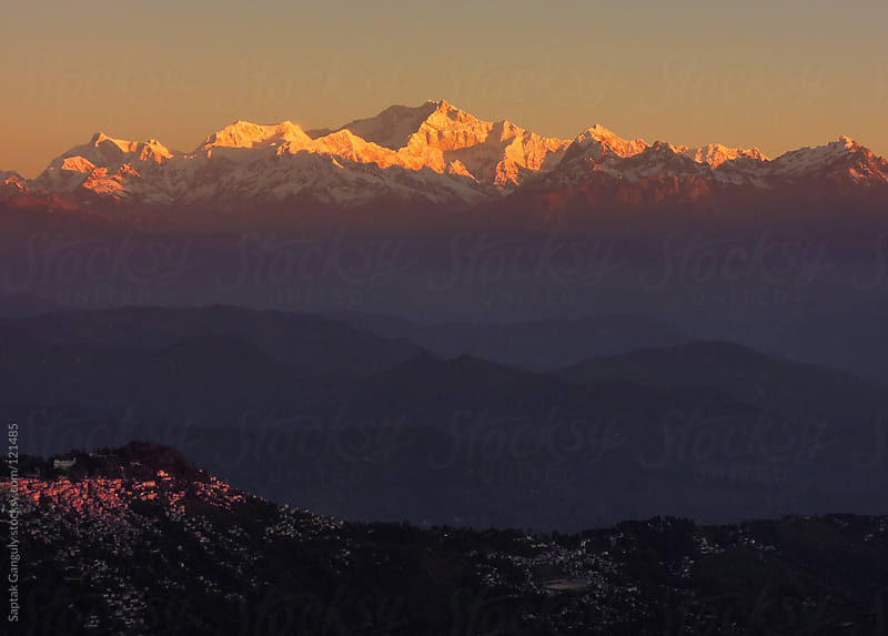 View of Mt. Kangchenjunga at sunrise by Saptak Ganguly for Stocksy United