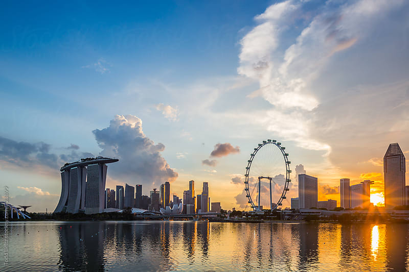 Marina Bay, Singapore at sunset by Todd Beltz for Stocksy United