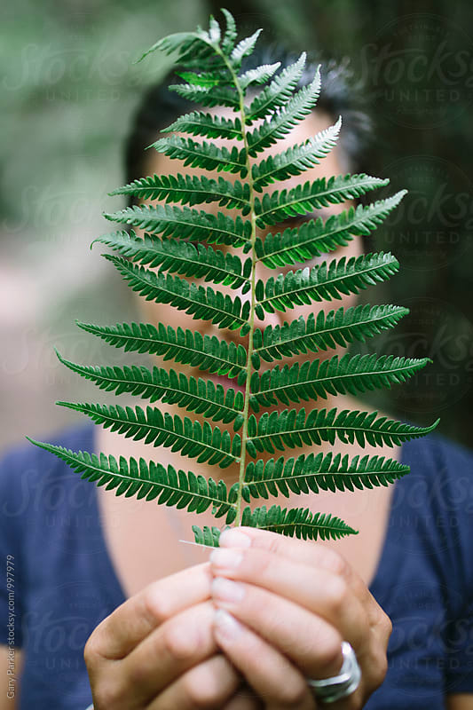 A young woman holding a fern leaf by Gary Parker for Stocksy United