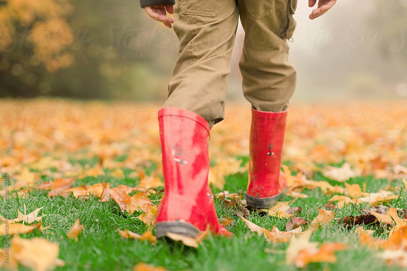 Red boots walking through Fall leaves by Rebecca Spencer for Stocksy United
