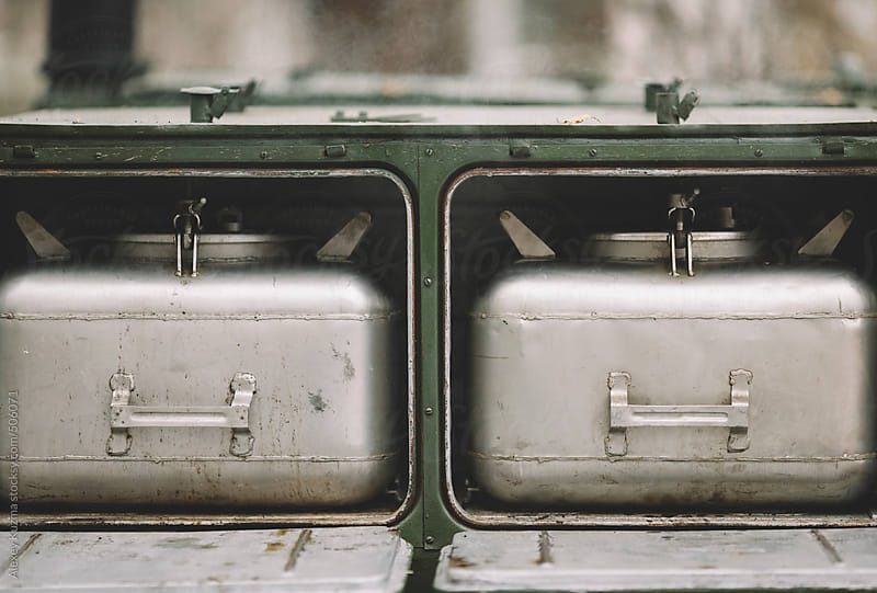 military mobile field kitchen  by Alexey Kuzma for Stocksy United