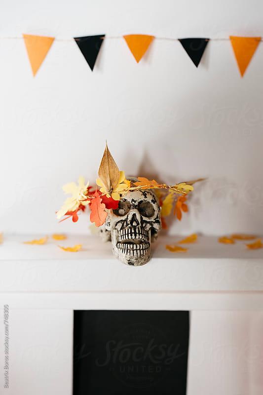 Plastic skull with a wreath over his head by Beatrix Boros for Stocksy United