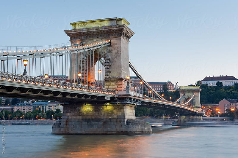 First lights on the Chain Bridge. by Gergely Kishonthy for Stocksy United