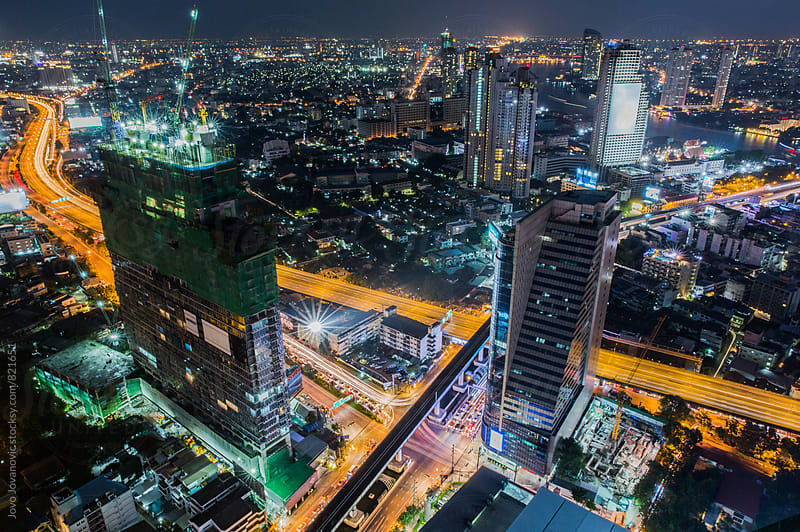 Bangkok downtown night scene by Jovo Jovanovic for Stocksy United