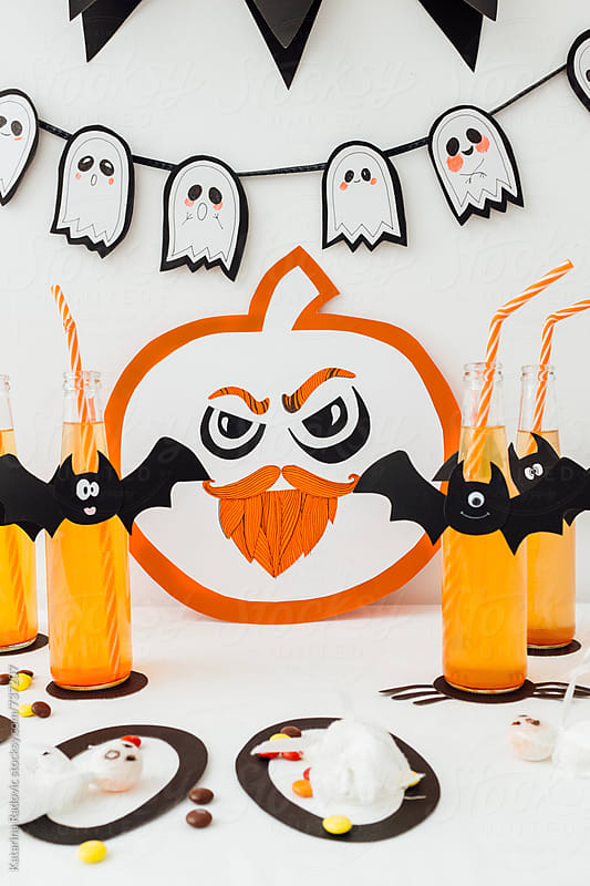 Paper Pumpkin and Bat Bottles for Kids Halloween Party by Katarina Radovic for Stocksy United