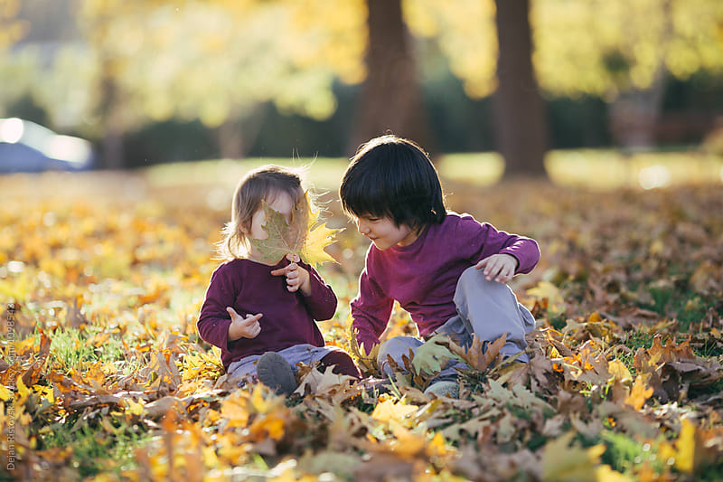 Children sitting in park full with yellow autumn leafs. by Dejan Ristovski for Stocksy United