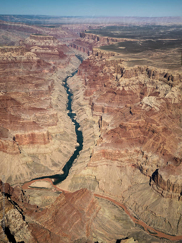 Aerial view of the Colorado River in the Grand Canyon National Park by Jean-Claude Manfredi for Stocksy United