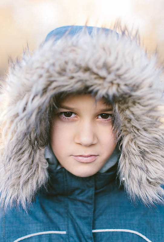 Cute Boy in Winter Hat Looking At Camera by Zocky for Stocksy United