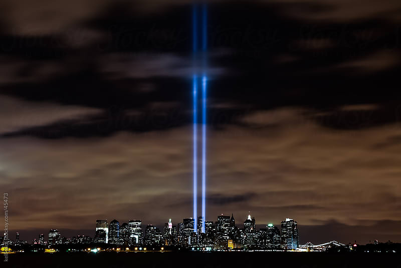 9 11 Tribute In Lights Next To World Trade Center by kelli kim for Stocksy United