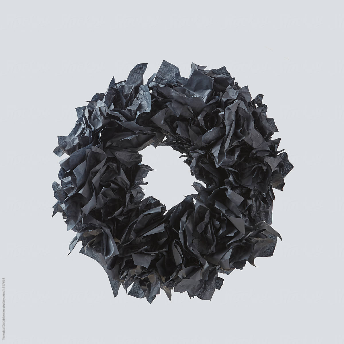 A Decorative Spooky Halloween Wreath Made From Black Paper Isolated On A White By Yaroslav Danylchenko Stocksy United