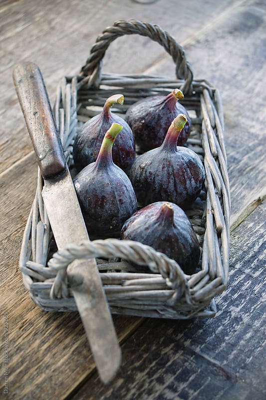 Black figs in a small wicker basket. by Darren Muir for Stocksy United