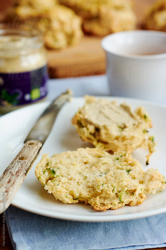 Vegan Cheesy Zucchini Biscuits by Harald Walker for Stocksy United