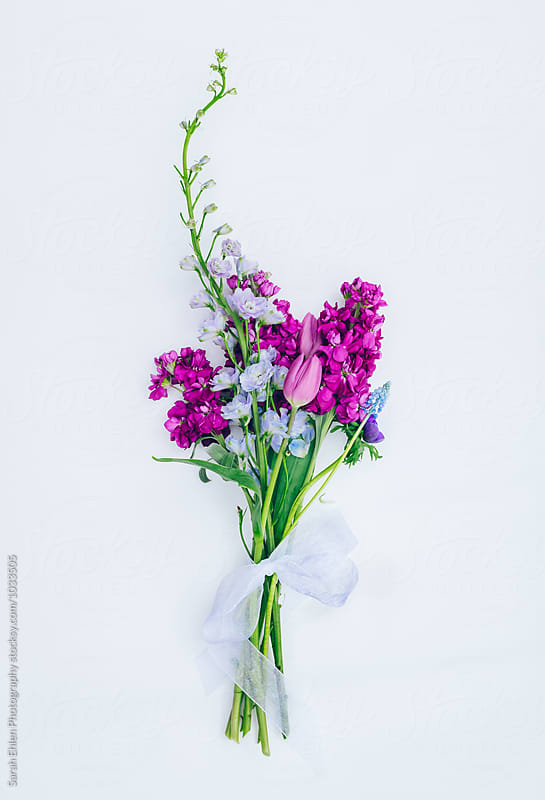 A colorful bouquet of spring flowers on a white background by Sarah Ehlen Photography for Stocksy United