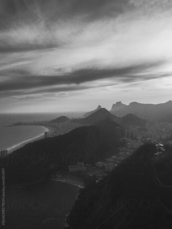 Rio de Janeiro - Copacabana Beach With Dramatic Sky in Black and White by Julien L. Balmer for Stocksy United