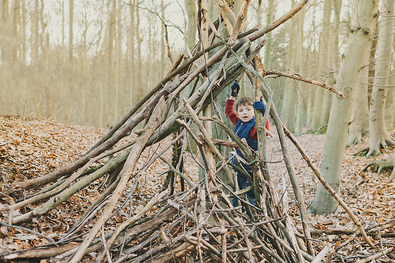 Boy playing in woods by Rebecca Spencer for Stocksy United
