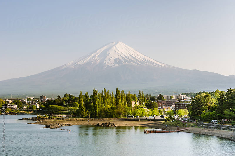 Snowcapped Mt Fuji from Lake Kawaguchiko by Leslie Taylor for Stocksy United