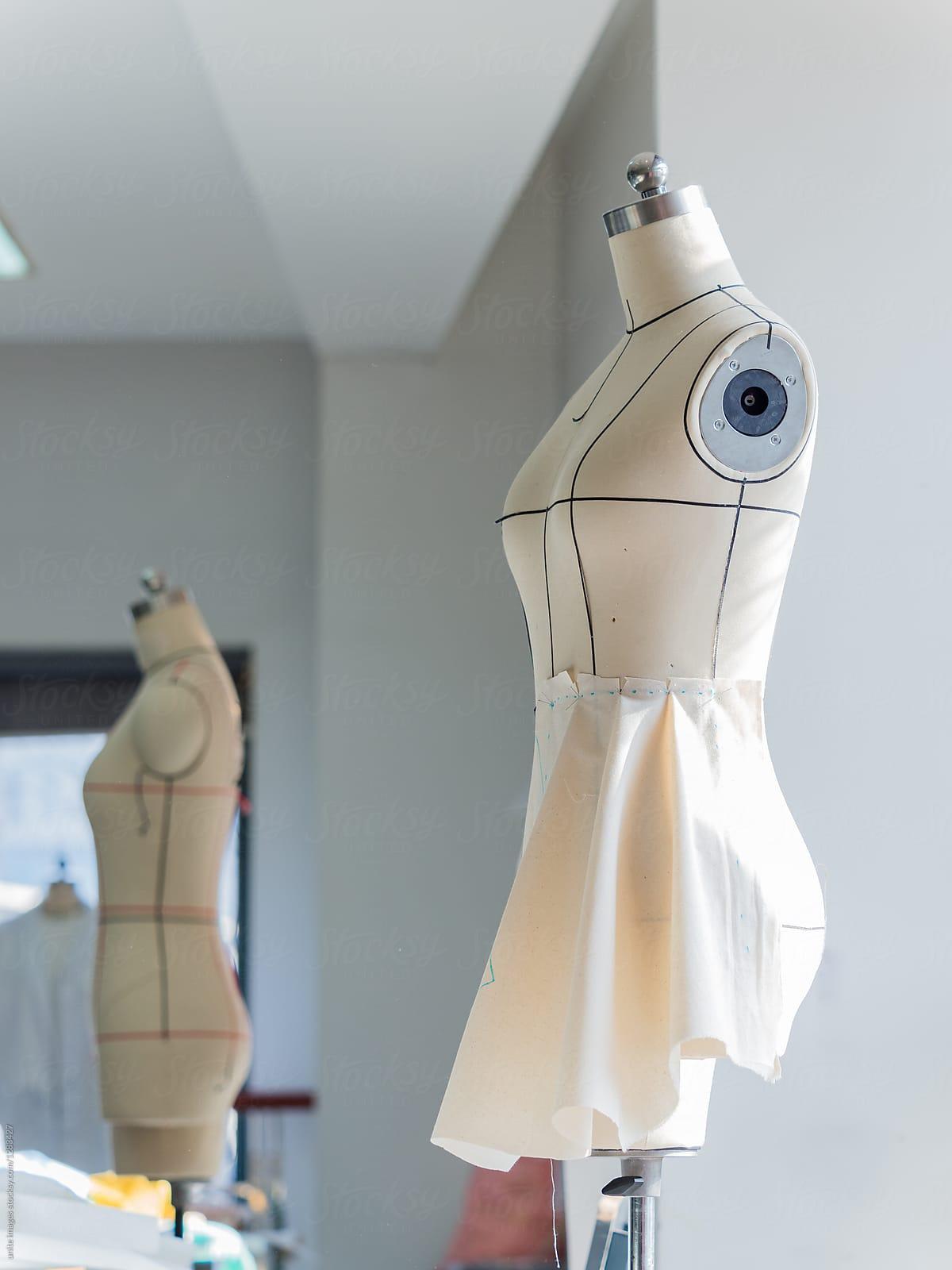 Dressmaker Unfinished Dress Craft On Mannequin In Studio Stocksy