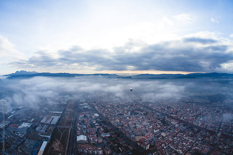 Aerial view from Ballon of Igualada, Spain by German Parga for Stocksy United