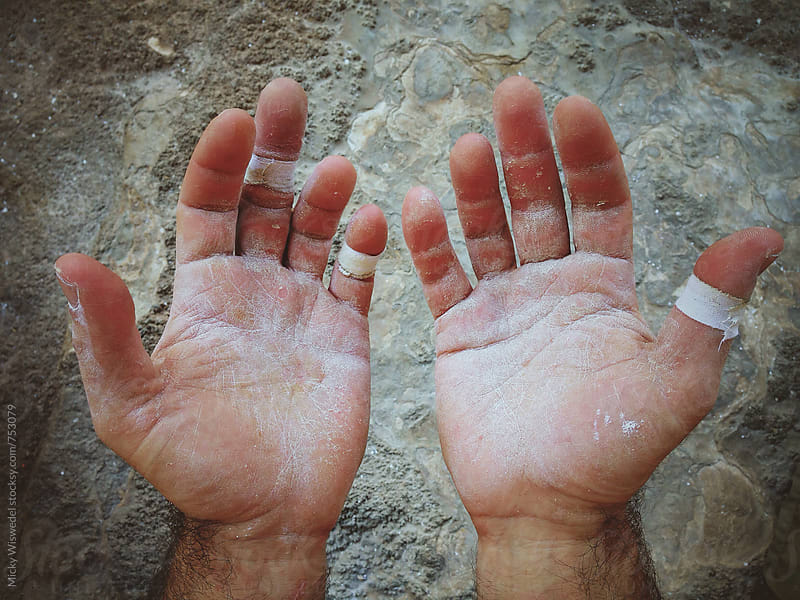 worn hands of a rock climber by Micky Wiswedel for Stocksy United