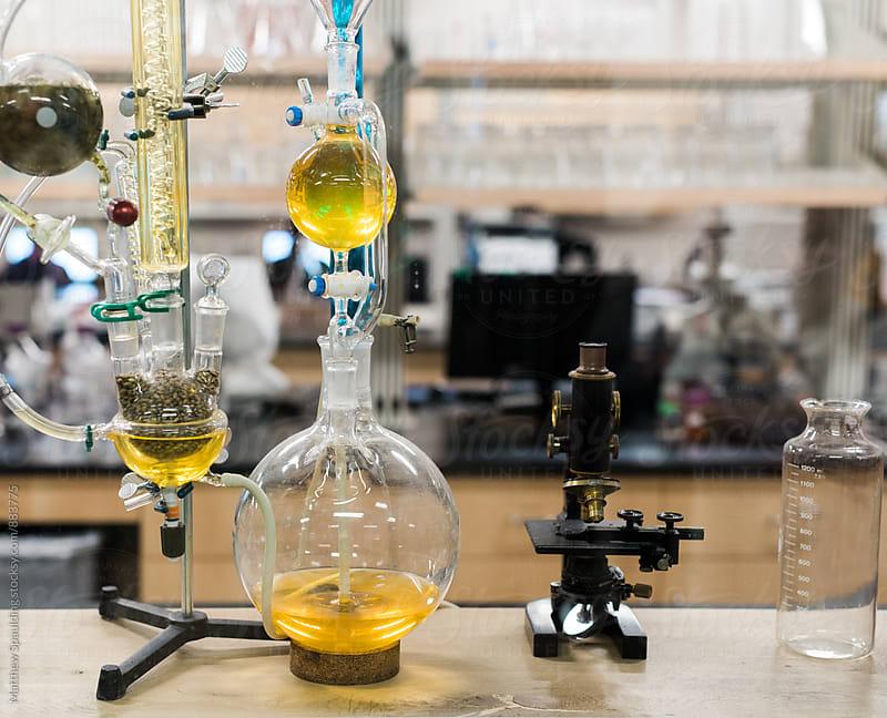 Beer brewing chemistry process display in lab by Matthew Spaulding for Stocksy United
