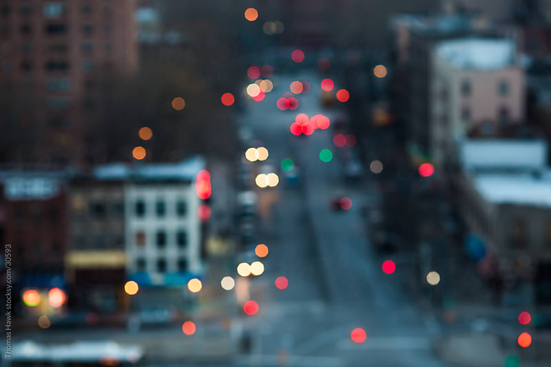 Out of Focus Night City Scene by Thomas Hawk for Stocksy United
